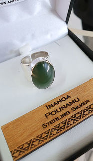 Sterling Silver Ring with Inanga Pounamu cabochon 20mm