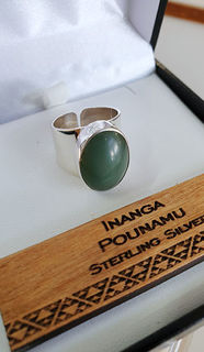 Sterling Silver Ring with Inanga Pounamu cabochon 21mm
