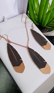 Rose Gold Huia Feather Pendant 60mm &  earring 45mm set