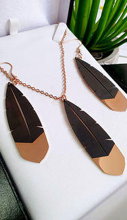 Rose Gold Huia Feather Pendant 60mm & earring 60mm set