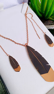 Rose Gold Huia Feather Pendant 60mm & thread earring 25mm set