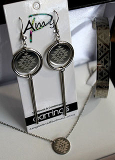Taniko Silver Stainless Steel Set, Cuff, Circle chain, Earrings
