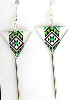 Green Resin Taniko  Triangles with 40mm Stainless steel tube tassel
