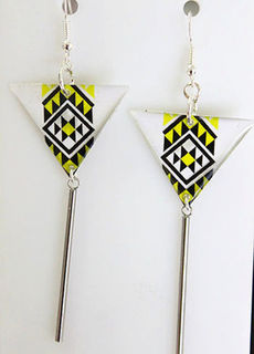 Yellow Resin Taniko  Triangles with 40mm Stainless steel tube tassel