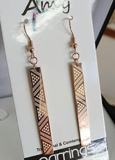 Taniko 50mm Rose Gold rectangle earrings