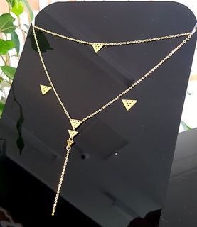 Gold  Stainless Steel Niho Double Chain necklace &niho studs