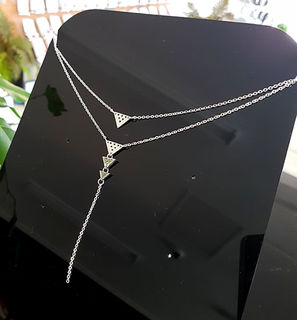Silver Stainless Steel Niho Double Chain necklace