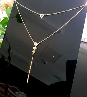 Gold Stainless Steel Niho Double Chain necklace