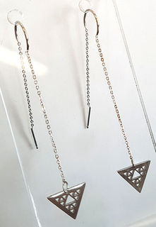 Niho taniwha Triple Drop triangles silver stainless steel with 60mm chain tassel