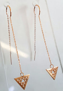 Niho taniwha single drop triangle Gold stainless steel thread earrings