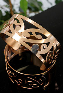 Rose Gold Cuff Kowhaiwhai (Cutout) with border 180 x 30mm wide
