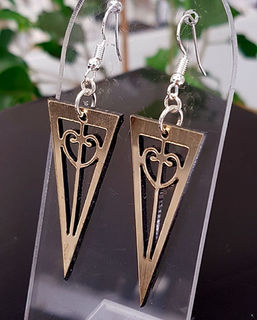 Black & gold mangopare tri cut out earrings 20mm x 45mm