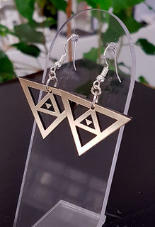 Black & gold niho taniwha cutout earrings 35mm x 25mm