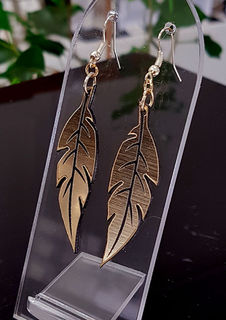 Black & gold feather earrings 40mm x 12mm
