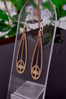 Black & gold teardrop mangopare SOLID earrings 15mm x 55mm