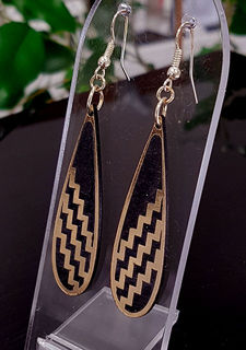 Black & gold teardrop poutama SOLID earrings 55mm x 15mm
