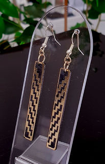 Black & gold rectangle poutama SOLID earrings 5mm x 35mm