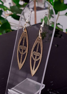 Black & gold mangopare solid surfboard earrings 15mm x 55mm