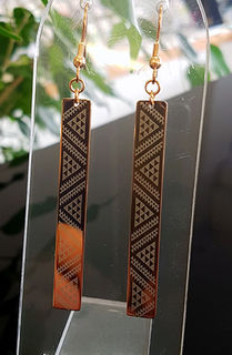 Rose Gold 50mm Taniko rectangle earrings