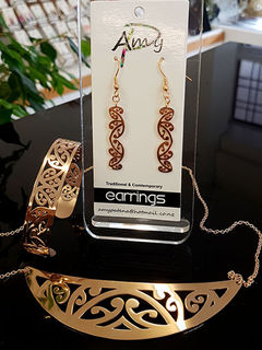 Rose Gold Stainless Steel kowahaiwhai cutout Pendant (2) & 35mm cutout earrings & skinny cutout cuff