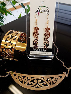 Rose Gold Stainless Steel kowahaiwhai cutout Pendant (2) & 55mm cutout earrings & large cutout cuff