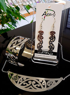 Silver Stainless Steel kowahaiwhai cutout Pendant (2) & 35mm cutout earrings & large cutout cuff