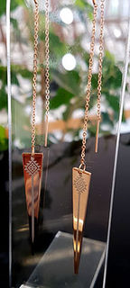 Rose Gold Taniko triangle thread earrings 60mm