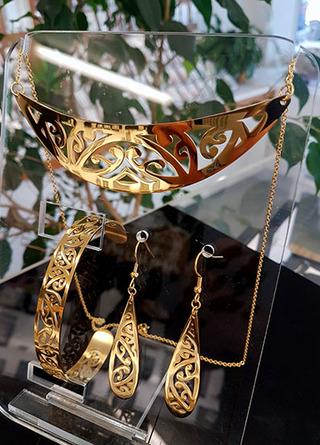 Gold Stainless Steel kowahaiwhai cutout Pendant (2) & teardrop earrings 55mm & skinny cutout cuff