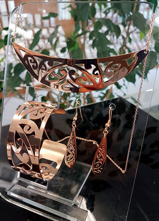 Rose Gold Stainless Steel kowahaiwhai cutout Pendant (2) & 35mm cutout teardrop earrings & lge cutout cuff