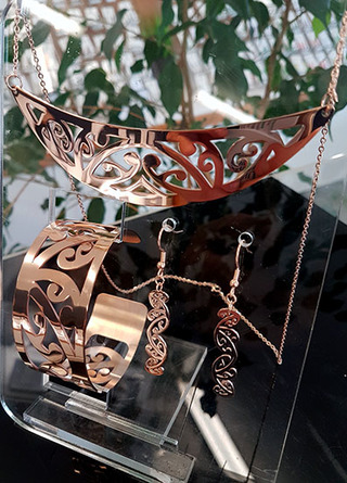 Rose Gold Stainless Steel kowahaiwhai cutout Pendant (2) & 35mm cutout earrings & lge cutout cuff