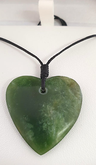 Flower Jade Pounamu Heart 35mm
