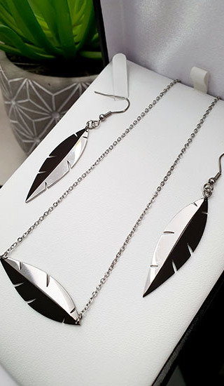 Two Tone Feather Black & Silver Pendant 55mm earrings 45mm