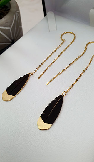 Black & Gold Huia Feather thread earrings 25mm