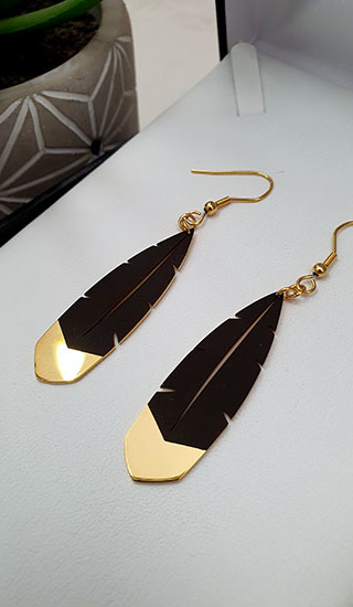 Black & Gold Huia Feather earrings 45mm