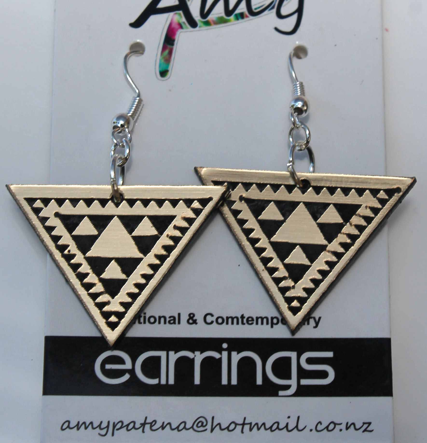 Black & Gold Acrylic Niho taniwha triangle earrings