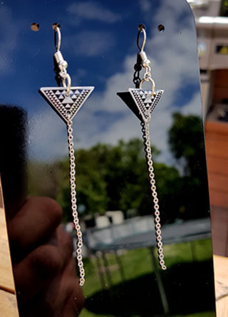 Taniko Triangle (18mm wide) with  Stainless Steel tassel (60mm length) Surgical Steel earrings