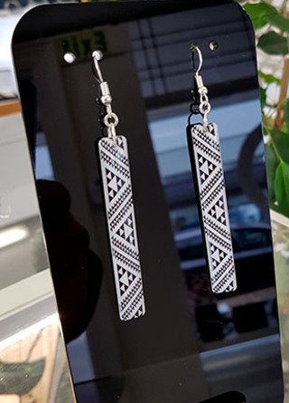 B&W Taniko rectangle (60mm)  Surgical Steel earrings