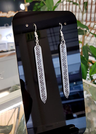 B&W Taniko rectangle (65mm wide)  Surgical Steel earrings