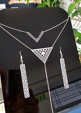 Taniko Pendant Stainless Steel double chain & earring set 5