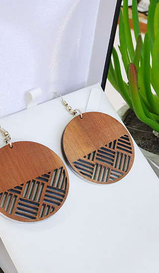 Recycled Native Wood (Rimu) Harakeke weave Circles 45mm