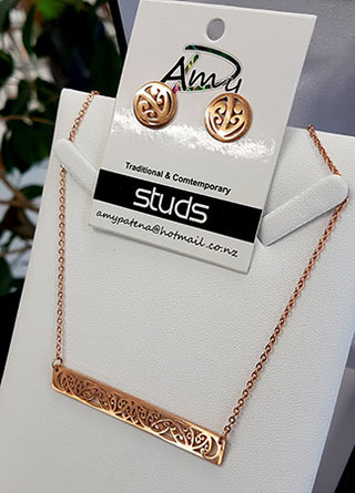 Rose Gold Kowhaiwhai Bar Chain Necklace & circle stud set