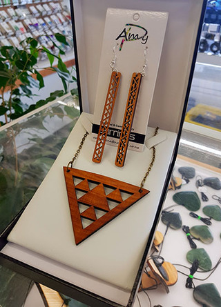 Native Wood (Recycled) Niho Taniwha Tri cutout set  Pendant 110mm & earrings 70mm rectangles