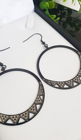 Niho Taniwha Black Hoop Earrings 45.00mm