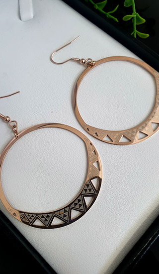 Niho Taniwha  Rose Gold Hoop Earrings 45.00mm