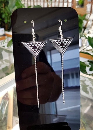 B&W Taniko Triangle (30mm wide) with  Stainless Steel tassel (60mm length) Surgical Steel earrings Surgical Steel earrings