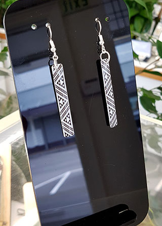 B&W Taniko rectangle (45mm wide)  Surgical Steel earrings