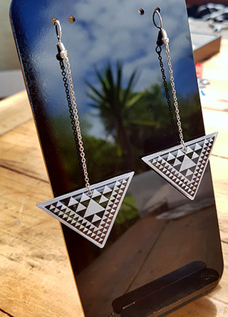 B&W Taniko Triangle (45mm wide) with  Stainless Steel drop (60mm length) Surgical Steel earrings Surgical Steel earrings