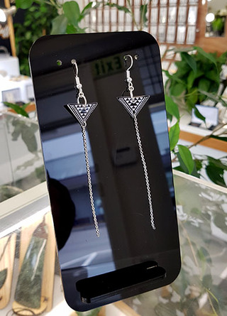 B&W Taniko Triangle (18mm wide) with  Stainless Steel tassel (60mm length) Surgical Steel earrings