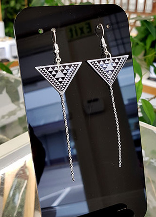 W&B Taniko Triangle (30mm wide) with  Stainless Steel drop (60mm length) Surgical Steel earrings Surgical Steel earrings