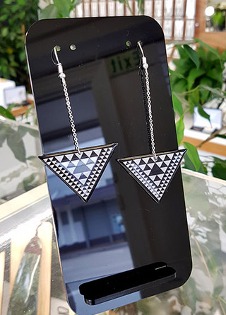 B&W Taniko Triangle 45mm wide) with  Stainless Steel drop (60mm length) Surgical Steel earrings